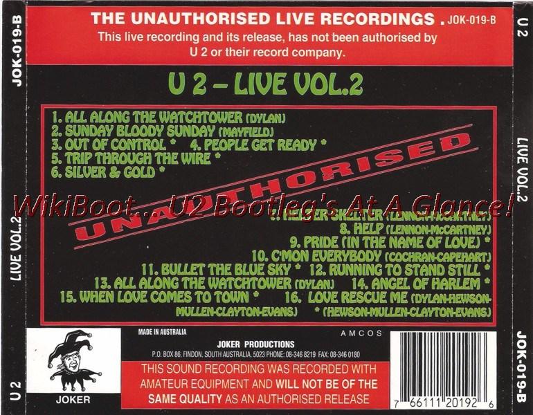 U2 CD Live Vol 2