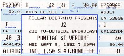 U2 Concert Detroit Pontiac Silverdome Sept 09 1992